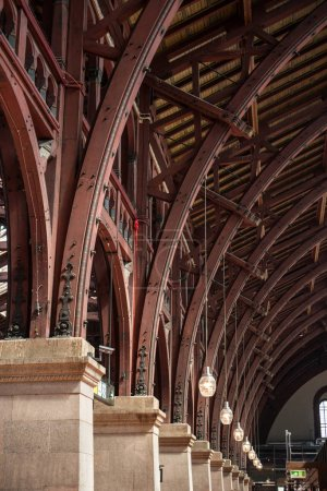 close up view of old vintage roof structure at train station in copenhagen, denmark