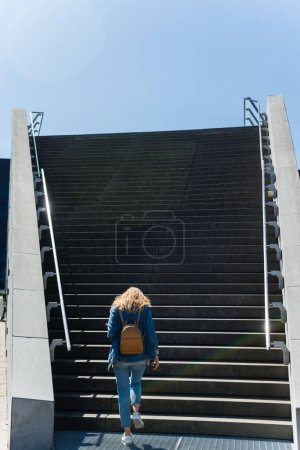 back view of woman going up on steps in copenhagen, denmark