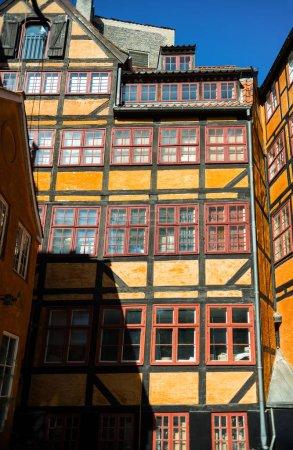 urban scene with bright buildings in copenhagen, denmark