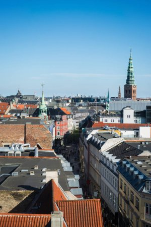 beautiful cityscape of Copenhagen with spire of City Hall