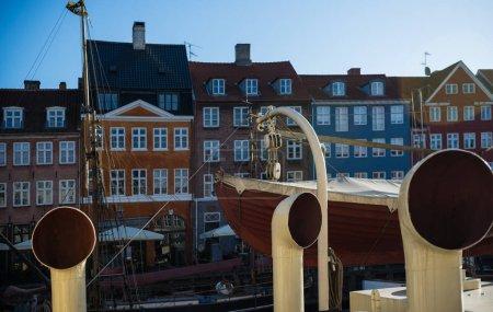 COPENHAGEN, DENMARK - 06 MAY, 2018: tubes and pipes on boat at Nyhavn pier in copenhagen, denmark
