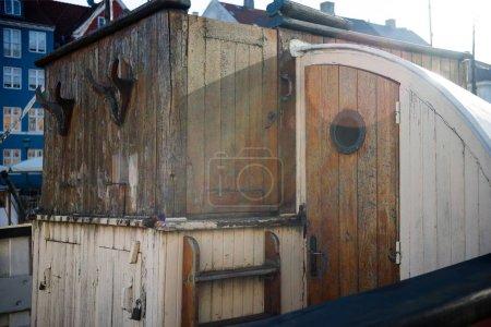COPENHAGEN, DENMARK - 06 MAY, 2018: wooden detail of boat at Nyhavn pier in copenhagen, denmark