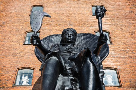 low angle view of beautiful historical statue in copenhagen, denmark