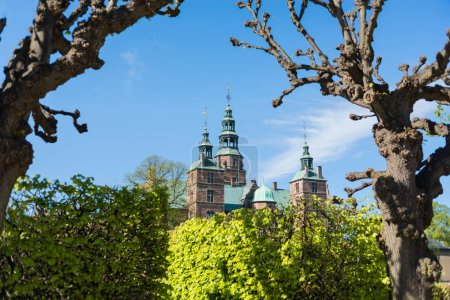 beautiful famous Rosenborg castle at sunny day, Copenhagen, Denmark