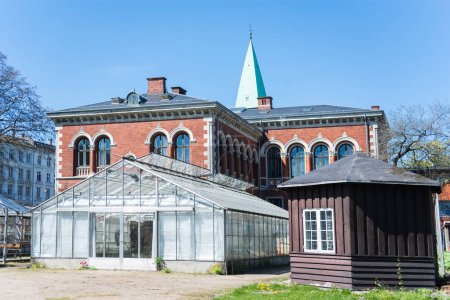 greenhouse and buildings in botanical garden in Copenhagen, Denmark