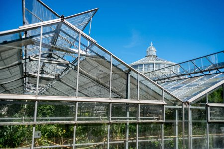 COPENHAGEN, DENMARK - MAY 6, 2018: greenhouses and Palm house in botanical garden