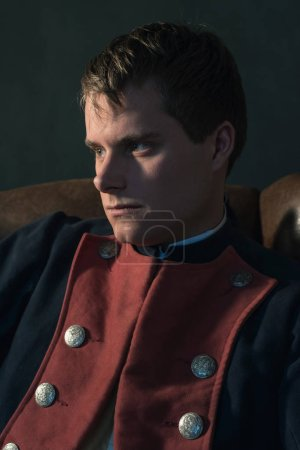 Photo for Headshot of historical regency man in chair. - Royalty Free Image