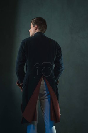 Photo for Rear view of historical empire man in jacket. - Royalty Free Image