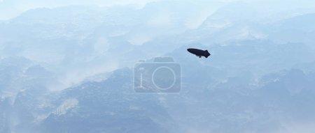 Aerial of zeppelin over misty