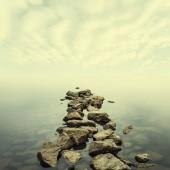 Minimalist misty landscape in summer
