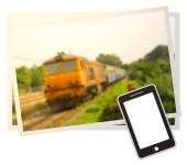 """Постер, картина, фотообои """"Умный телефон и Blur пассажирского поезда идею для бизнеса"""""""