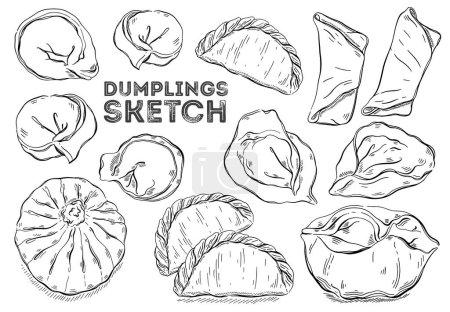 Illustration pour Jeu de croquis Dumplings. Cuisine dessinée à la main. Tous les éléments sont isolés dans un fond blanc Illustration vectorielle . - image libre de droit