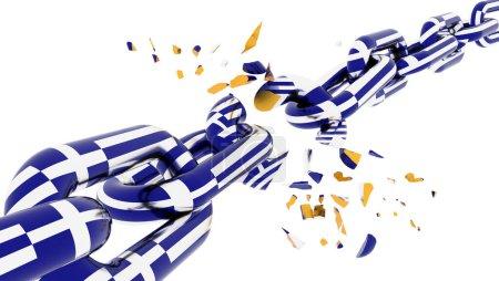 greece greek crisis war broken chain parts - 3d rendering