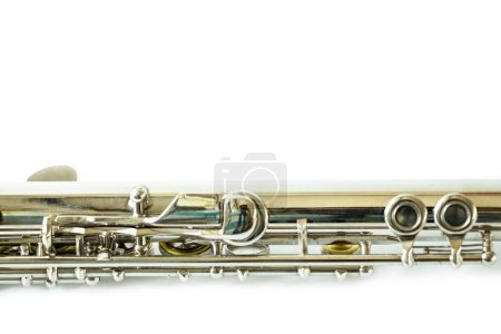 Photo for Musical flute in studio on white background - Royalty Free Image