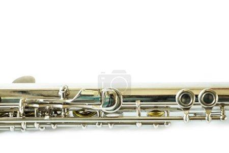 Photo pour Flûte musicale dans le studio sur le fond blanc - image libre de droit