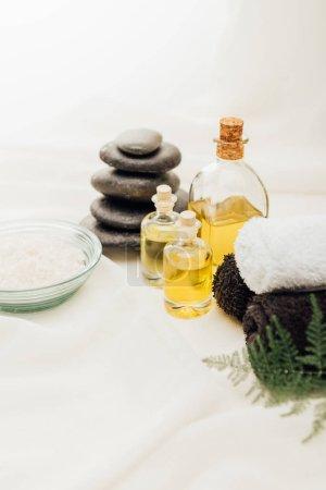 Photo pour Bouchent la vue de disposition des accessoires de traitement spa avec huiles essentielles, de cailloux et de sel sur fond blanc - image libre de droit