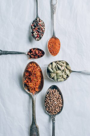 vue de dessus des épices indiennes en cuillères sur tableau blanc