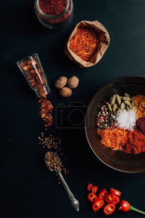 top view of spices in plate, jars and spoon on table