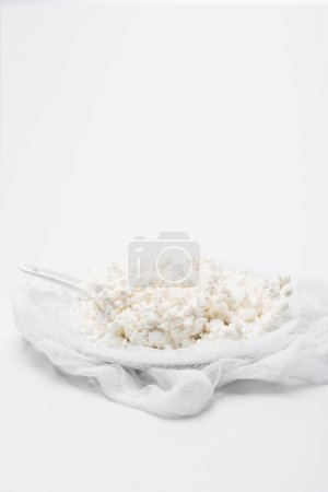 delicious cottage cheese on cheesecloth on white surface