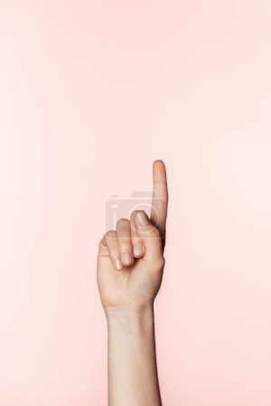 Photo for Cropped image of woman doing finger raised gesture isolated on pink background - Royalty Free Image