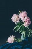 """Постер, картина, фотообои """"Букет светло розовые пионы в вазе на темном фоне"""""""