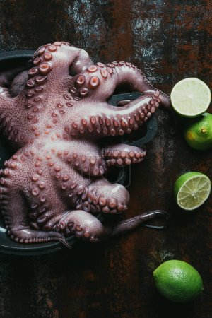 top view of big raw octopus in saucepan on rusty surface with fresh limes