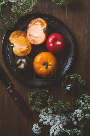 top view of tomatoes on ceramic plate with knife and parsley flowers