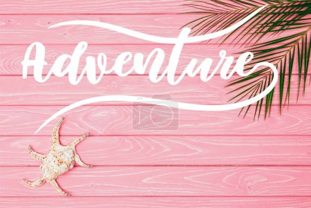 """top view of seashell with palm leaves on pink wooden surface with """"adventure"""" lettering"""