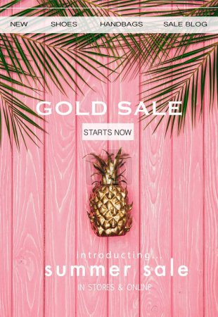 top view of golden pineapple and palm leaves on pink wooden surface with gold sale sign