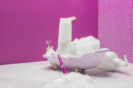 toy bath with real size personal hygiene supplies in pink miniature room