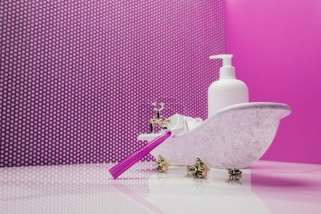 toy bath with real size shaver and lotion bottle in pink miniature room