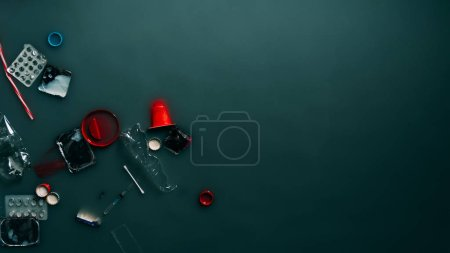 Photo for Top view of garbage flowing in water, ecology protection and recycle concept - Royalty Free Image