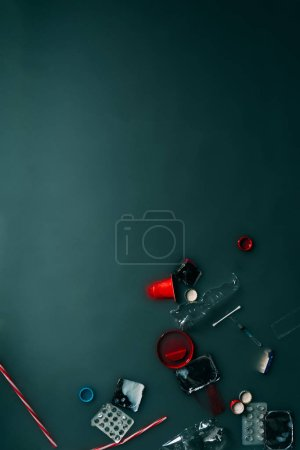 Photo for Top view of garbage flowing in water, ecology protection concept - Royalty Free Image