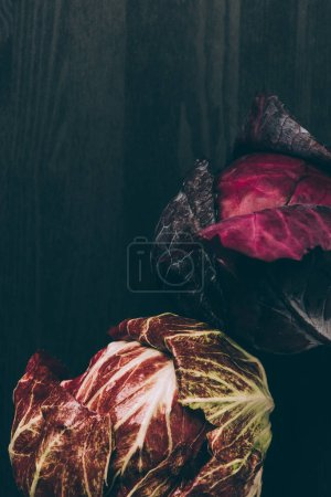 elevated view of red cabbage and red salad on grey dark table