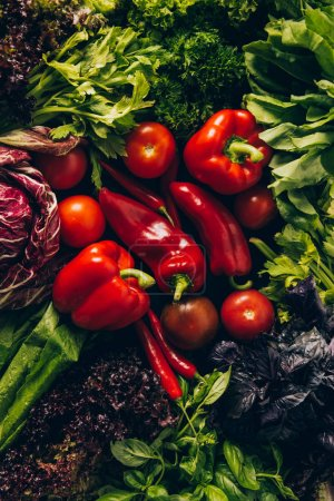 top view of red and green vegetables on table