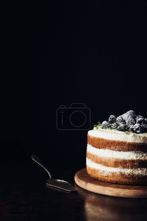 close-up shot of delicious blackberry cake on wooden cutting board and on black with cake server