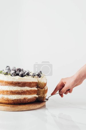 Photo for Cropped shot of woman serving delicious blackberry cake on white - Royalty Free Image