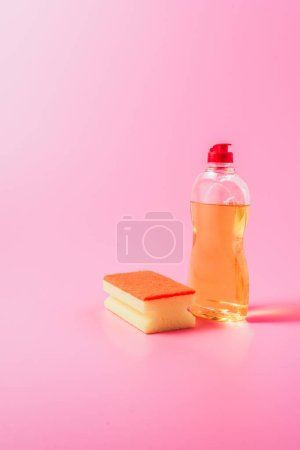 Close up view of washing sponge and dishwashing li...