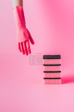 Photo for Cropped image of female cleaner hand in rubber glove near stack of washing sponges, pink background - Royalty Free Image