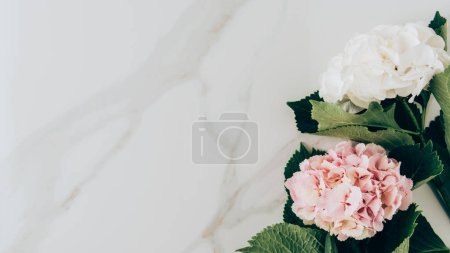 top view of pink and white hydrangea flowers on marble surface with copy space