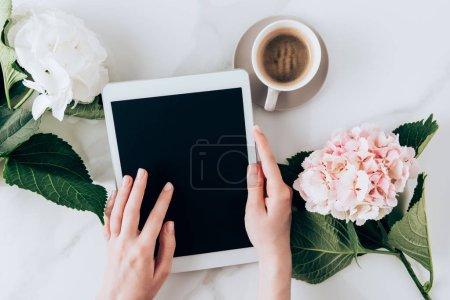 Photo pour Vue recadrée de la femme à l'aide d'une tablette numérique avec écran blanc sur la table avec café expresso et fleurs d'hortensia - image libre de droit