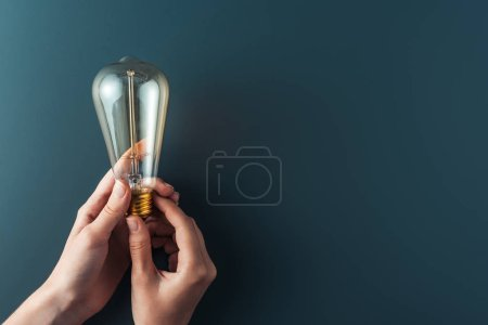 Photo for Close-up partial view of person holding light bulb on grey background - Royalty Free Image