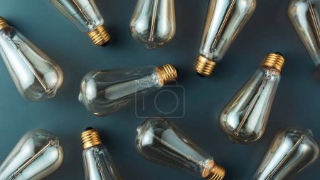 top view of pattern made of light bulbs on grey