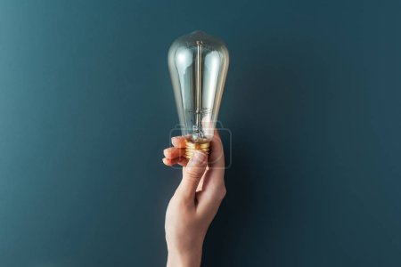 Photo for Cropped shot of person holding light bulb on grey background - Royalty Free Image
