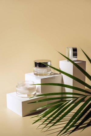 Photo pour Bouchent la vue de palmier vert feuille, du visage et du corps crèmes en bocaux de verre sur des cubes blancs sur fond beige - image libre de droit