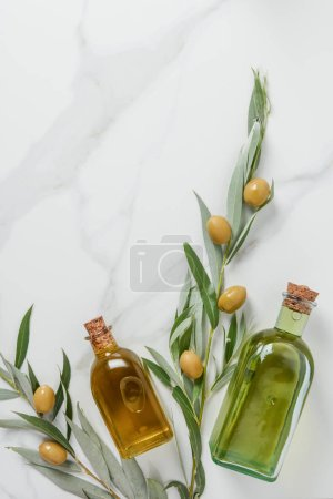 top view of bottles of olive oil and twigs with olives on marble table