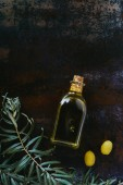 elevated view of bottle of olive oil, twigs and appetizing olives on shabby surface