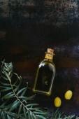 vue de la bouteille d'huile d'olive, les brindilles et les olives appétissantes sur surface minable