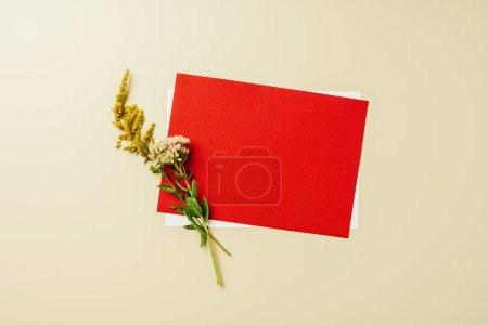 flat lay with arrangement of red and white blank cards and wildflowers on beige backdrop