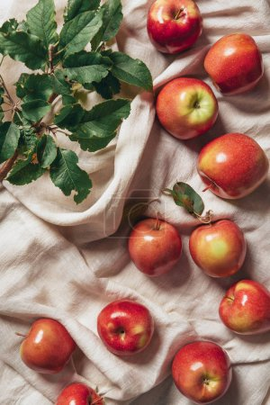 top view of freshness apples with apple tree leaves on sacking cloth